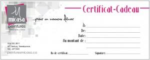 certificat cadeau peintures micasa